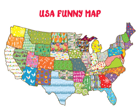 map of the united states: United States funny map with patterns - design for kids Illustration