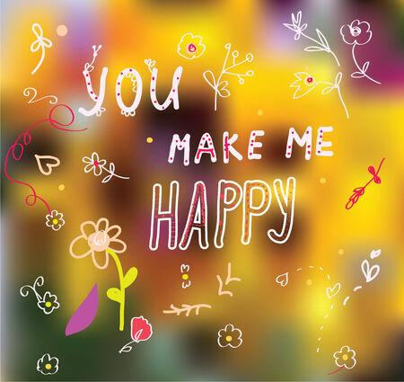 You make me happy - cute romantic card Vector