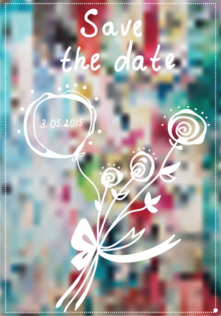 Save the date invitation with rose flowes and cute background Vector
