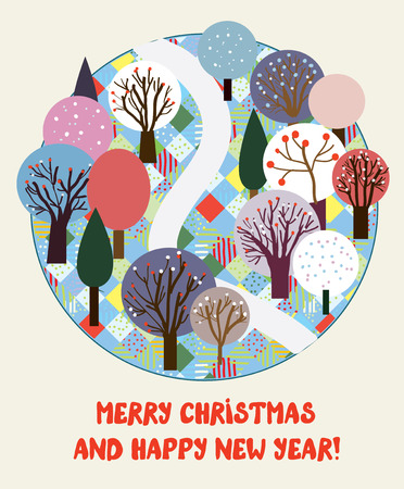 Cute Christmas and New year card with winter forest