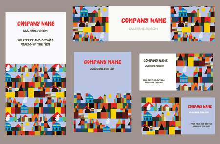 Business cards set with city or town elements