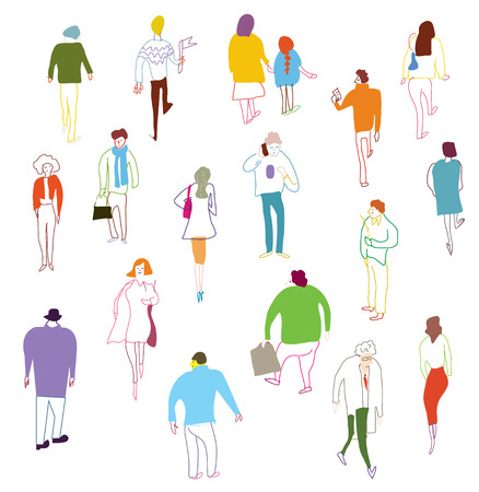 Many people walking, talkink and standing - crowd illustration Vector