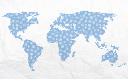 other world: Map of the world in winter - for Christmas and other holidays