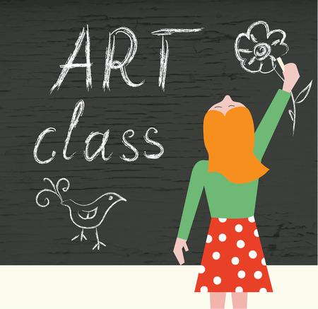blackboard cartoon: Art class background with child and blackboard cartoon