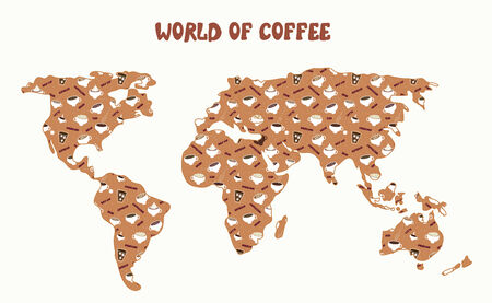 wordwide: World of coffee - map and different kinds cartoon
