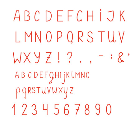 Simple font with numbers and symbols set Vector
