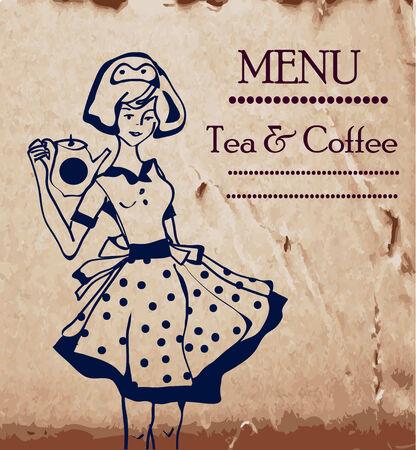 Menü-Vorlage mit Retro-Kellnerinnen und Kaffee oder Tee Topf
