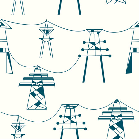 transmission line: Seamless pattern for electricity - power lines illustration