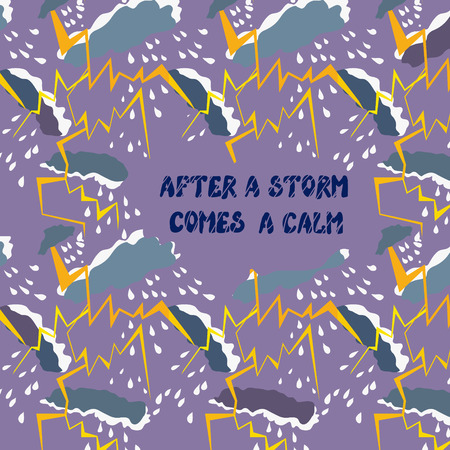 grateful: Motivation card of positive thinking - calm and storm Illustration