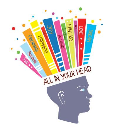 psicologia: Concepto de Psicología con los sentimientos optimistas y la ilustración pensamiento positivo