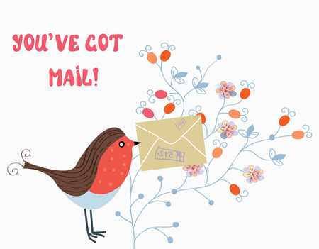 Funny card with bird and mail on flower pattern Çizim