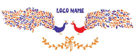 Logo or identity element with peacock pair and laurel Vector