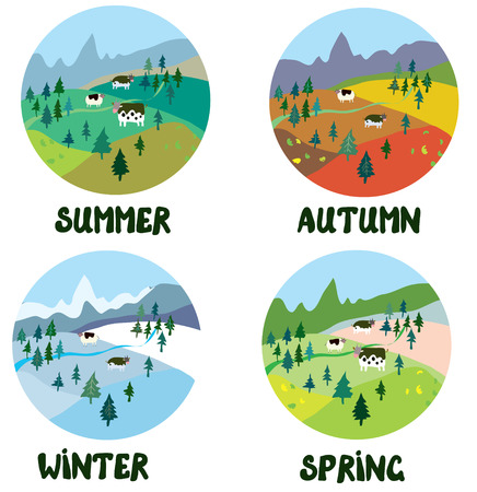 and four of the year: Farm rural landscape in four seasons - round shape cards
