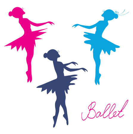 silhoette: Ballerina silhoette set - posing girls Illustration