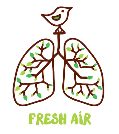lung: Lungs and nature - illustration for the fresh air concept