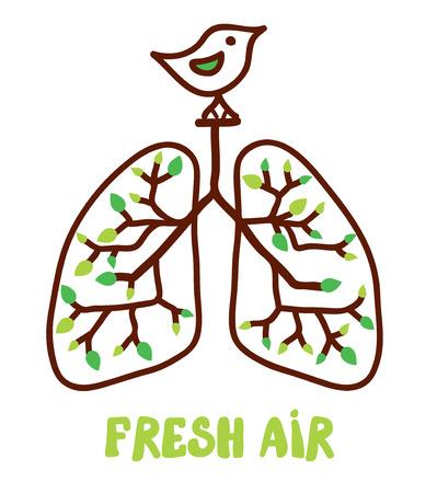 aparato respiratorio: Pulmones y la naturaleza - ilustraci�n para el concepto de aire fresco Vectores