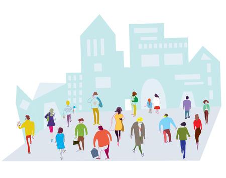 도시의 그림에있는 사람들 - 거리에서 군중 일러스트