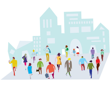 business people walking: People in the city illustration - crowd on the street