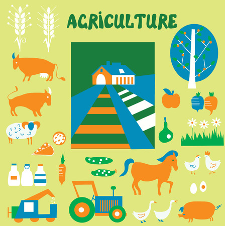 Agriclulture icons and pictures set - hand drawn funny style Vector