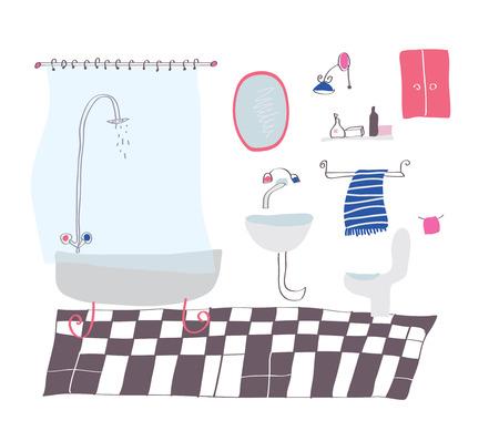 bathroom cartoon: Bathroom cartoon in sketchy style illustration Illustration