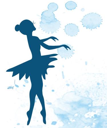 ballet studio: Ballerina and artistic background - banner illustration