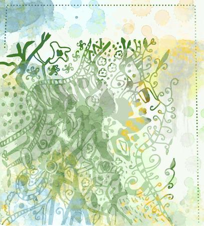 blumen abstrakt: Floral abstraktes Aquarell Hintergrund Illustration Illustration