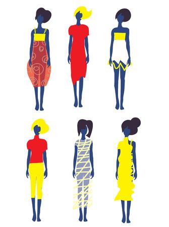 Set of dresses and fashion models illustration