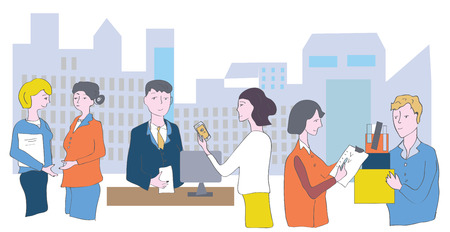Business office and staff - meetings, conversations and cooperation Ilustracja