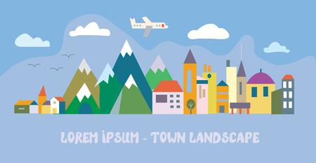Banner con città turistica - funny illustrazione piatta Vettoriali