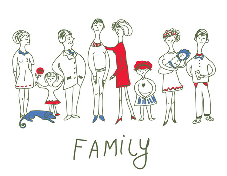 dad daughter: Family event - funny sketch illustration with dog