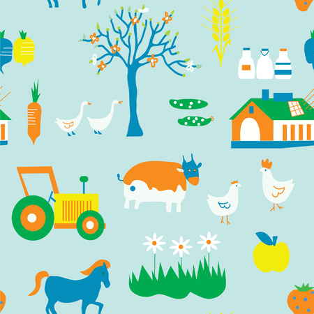 Agriculture seamless pattern with trees, animals and house Vector