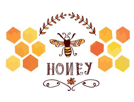 벌과 셀 - 재미있는 복고풍 디자인 꿀 레이블