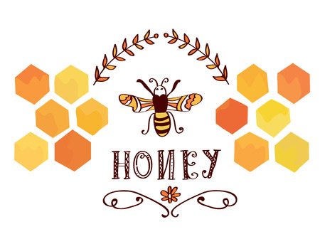 honey jar: Honey label with bee and cells - funny retro design