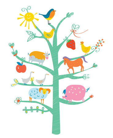 Cute card with tree and animals for kids - funny design Vector