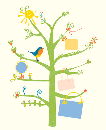cute tree: Cute tree card with text frames for kids - illustration