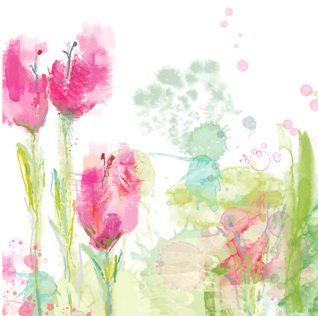 Tulips floral background - watercolor style