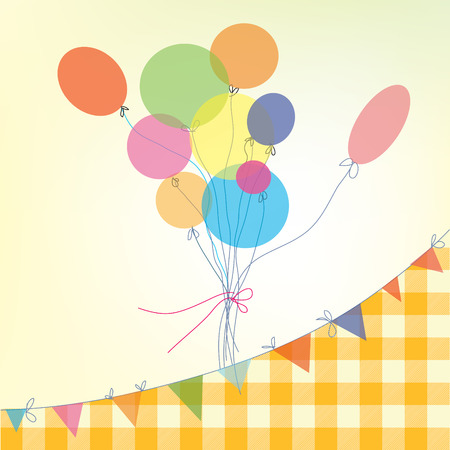 chequered ribbon: Holiday background with balloons, bunting flags and plaid pattern - retro design Illustration
