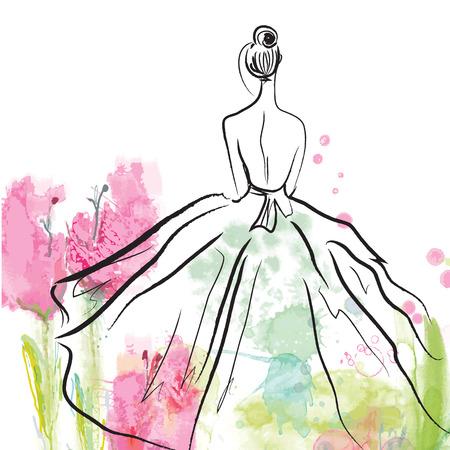 Moda dziewczyna w pięknej sukni - szkic na tle kwiatów
