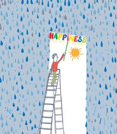 Concept of the happiness - protect yourself from bad emotion and events cartoon Çizim