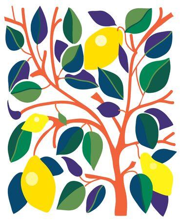 Decoratieve kaart met citroenen en bladeren - grafisch ontwerp