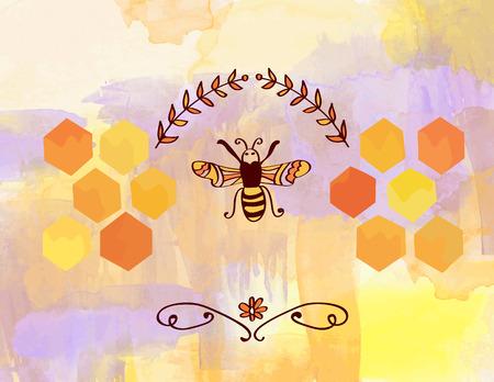 peine: Antecedentes para la miel de abejas con células y - estilo de la acuarela