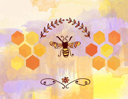 combs: Background for honey with bee and cells - watercolor style Illustration