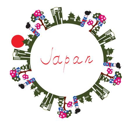 for text: Giappone simboli carta - cornice di testo sfondo Vettoriali