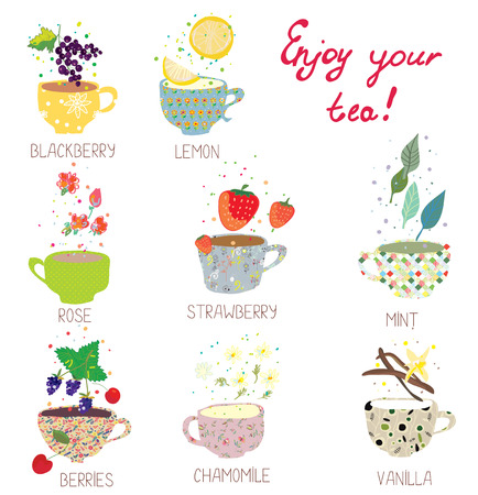 green tea leaves: Cups with tea set - berries, lemon, mint, vanilla and more