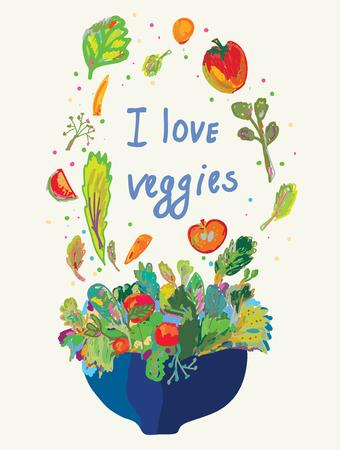 salatdressing: Blank f�r die Gem�semen� - f�r vegetarische Kost Illustration
