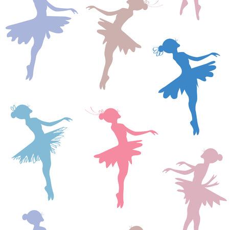 Ballerina seamless pattern - pastel colored design Vector