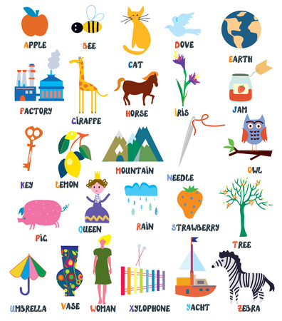 Abc for kids with animals, objects, toys and flowers