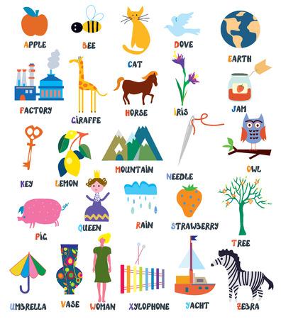Abc para niños con animales, objetos, juguetes y flores Foto de archivo - 38756084