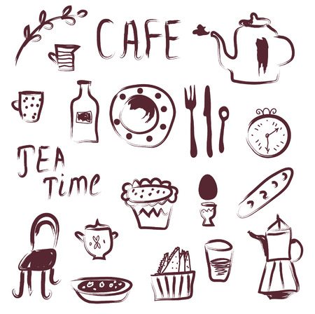 Cafe design elements set - doodle style Vector