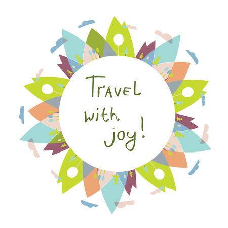 logo voyage: logo Voyage ou cadre pour le texte avec la nature et les montagnes Illustration